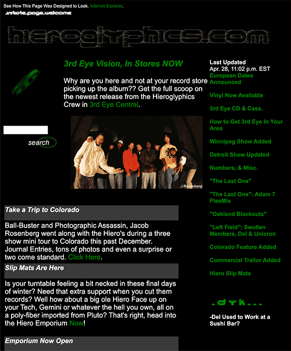 Hieroglyphics.com as it appeared in 1997-1998