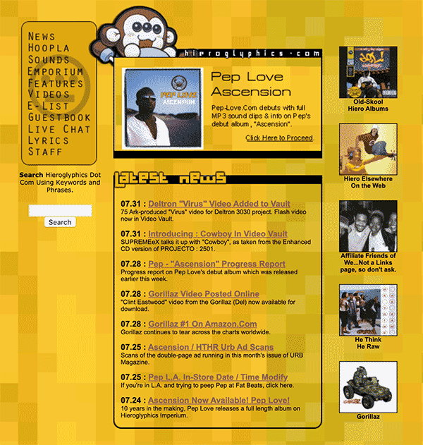 Hieroglyphics.com as it appeared between 1999-2001